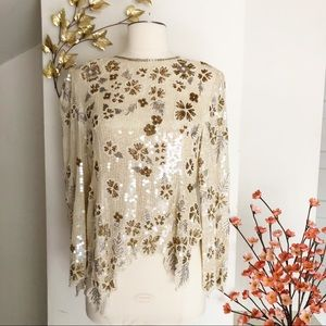 Vintage | Judith Ann creations sequins beige top